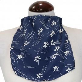 3401-086-051_Pañuelo de Traqueotomia Seda Azul Flores